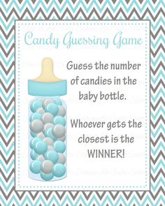 Guess how many in the jar baby shower game, Guess how many ...