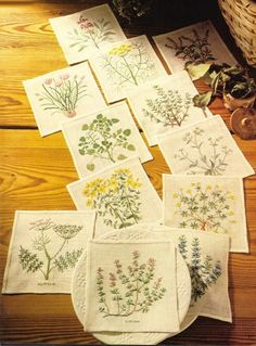 scandinavian stitches: would make a special quilt or wall hanging Crewel Embroidery, Ribbon Embroidery, Cross Stitch Embroidery, Embroidery Patterns, Stitch Book, Cross Stitch Flowers, Embroidery Techniques, Cross Stitching, Needlework