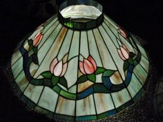 """Hanging Stained Glass Blue Slag Shade Chandelier Tiffany Style Pink Tulips 21"""""""
