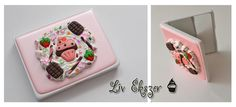 Decoden mirror, decorated with whipped cream, chocolate and strawberry...hmmm yummy!