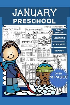 A full month of NO PREP activity worksheets. OVER 70 PAGES! This January Packet is filled with hands-on worksheets. This Packet has kids excited about learning and Preschool! All activities are appropriate skills for Preschool. NO PREP WORK. Preschool Curriculum, Preschool Printables, Preschool Worksheets, Preschool Learning, Homeschool, Teaching, Letter Maze, Everything Preschool, Toddler Age