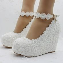 fashion white wedges wedding pumps Sweet white flower lace platform pump shoes pearl wedding shoes bride dress lace high heels(China (Mainland))