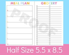 New to CommandCenter on Etsy: a5 printables Half Size Planner 5.5 x 8.5 planner Menu Planner Printable Planner Half Size Grocery List Meal Planner Arc Refills (2.99 USD)
