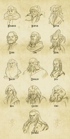 Thorin and company from the Hobbit. I know all of the dwarf names, I just figure out who's who besides Thorin, Fili, Kili, Bifur, Bofur and Bombur.