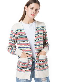 V Neck Button Pockets Front Print Striped Cardigan Sweaters - OneBling