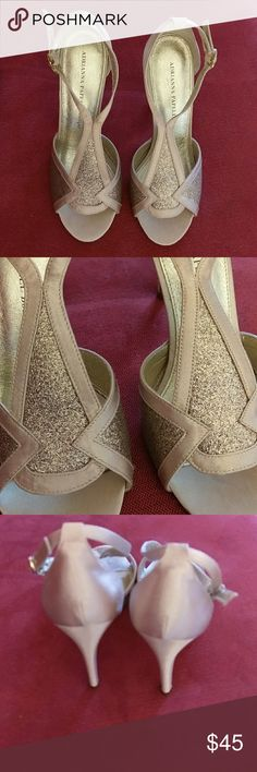 Tues Special! Adrianna Spell Heels 8 8M Beautiful gold heels! Excellent condition. Adrianna Papell Boutique details are stunning. Leather soles. Adrianna Papell Shoes Heels