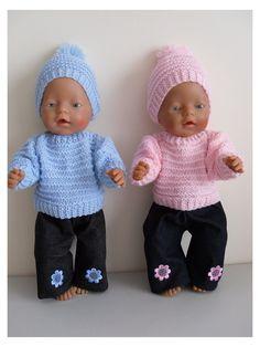 Yarn Dolls, Knitting Dolls Clothes, Doll Clothes Patterns, Knitted Doll Patterns, Knitted Dolls, Baby Born Kleidung, Baby Born Clothes, Pink Clothes, Boy Doll
