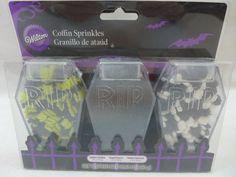 Halloween Wilton sprinkles Coffin Sprinkles Cake Decorating Spider Skull Sugar #Wilton