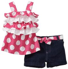 Young Hearts Baby-girls Infant 2 Pieces Denim Short Set, Pink Bright, 18 Months Young Hearts