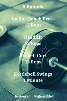 Replace bench press w/ push press and barbell curl w/ power clean Kettlebell Training, Kettlebell Swings, Training Workouts, Wod Workout, Gym Workouts, Workout Ideas, Wods Crossfit, Bench Press Workout, Conditioning Workouts