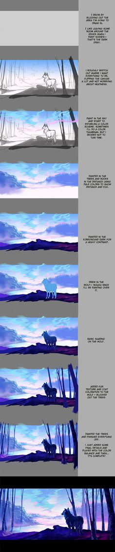 Step by step wolf background