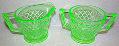 Imperial Glass Diamond Quilted Green Depression Creamer & Sugar Uranium Vaseline #ImperialGlassCo