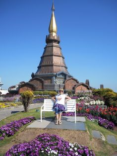 Doi Inthanon National Park. One of the two adjacent chedis (stupas) erected by The Royal Forces to honor hr and his Maesties' birthday anniversaries. Thailand