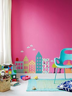 Just about any simple shape can be cut from fabric and turned into an easy-to-apply (and easy-to-remove) wall decal. #DIY