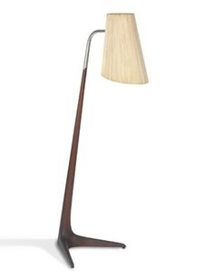Vladimir Kagan; Walnut 'Cygnet' Floor Lamp, 1957.