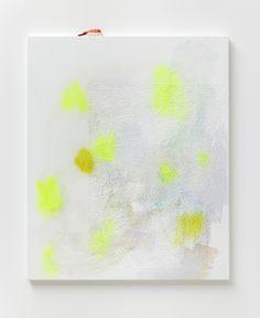 Untitled :(, 2012, 100 x 80 cm, akryl, spray og tapet på lærred, plastic nigiri, foto: Anders Sune Berg  Torben Ribe