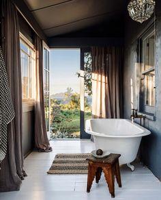 Cabana, Built In Daybed, Indoor Outdoor Bathroom, Outdoor Showers, Bathroom Inspiration, Bathroom Ideas, Vanity Bathroom, Bathroom Floor Tiles, Bathroom Wall Art