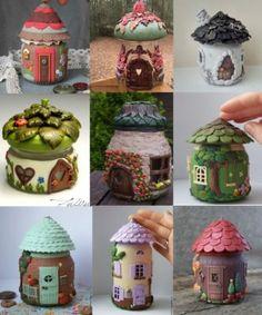 Polymer clay jar fairy house ideas – FImo DIY, polymer clay tutorials – Fairies Garden – Home crafts Polymer Clay Kunst, Polymer Clay Fairy, Fimo Clay, Polymer Clay Projects, Polymer Clay Creations, Clay Beads, Diy Fimo, Clay Fairy House, Fairy Houses