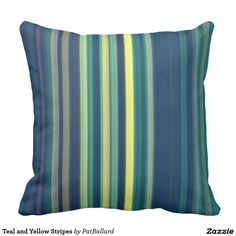 Teal and Yellow Stripes Throw Pillow