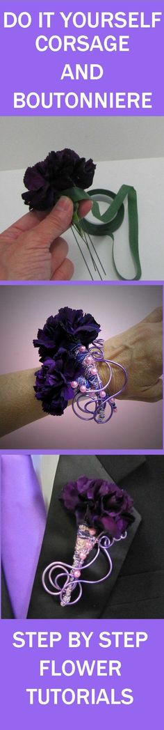 How to Make Corsages and Boutonnieres - Free Flower Tutorials - Learn how to make bridal bouquets, wedding corsages, groom boutonnieres, church decorations, vases and reception centerpieces.