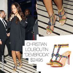 """Christian Louboutin multicolored embellished """"Devibroda"""" strappy sandals with crystals and glass beads $2495, @badgalriri"""