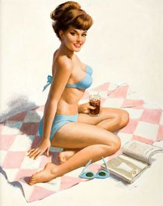 Canvas//Paper Print Pinup Girl Peter Driben-Pin-Up In Red Lingerie