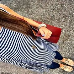 IG @mrscasual <click through to shop this look> Striped tunic tank. Maternity skinny jeans. Tory burch miller sandals. Burgundy tote bag.