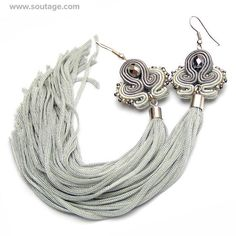 Silver Dragon - very long, light, thin soutache earrings with Swarovski crystals. Earrings with their silky tassel can be wear for all occasions: wedding, evening party, date, everyday(workday) Using materials: glass beads, soutache, viscose, Swarovski crystals. Length of earring: 18 cm.