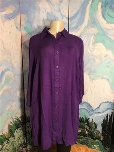 be496780f371ff Roaman s 12W New Purple Button Down Crinkle Textured 3 4 Sleeve Tunic Top   Roamans