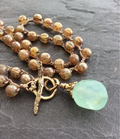 Chalcedony crochet necklace - Bohemian jewellery, Beaded crochet necklace, Everyday necklace, Gemstone pendant necklace, Birthday gift. Made to order. Lead time 1-2 weeks. Crocheted warm cashmere Czech glass beads embrace this lovely chalcedony nugget bead to create a front fastening