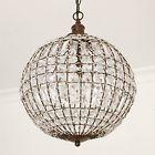 Kugellampe CRISTAL mit Kristallen D37cm antikbraun Deckenleuchte Deckenlampe