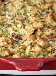 Sourdough Stuffing with Mushrooms, Apples, and Sage Recipe on twopeasandtheirpod.com Love this vegetarian stuffing!