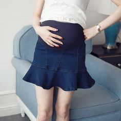 Denim Maternity Fish Tail Skirt with Belly Panel