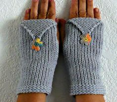 Knit Wrist Warmers Fingerless Gloves Arm Warmers Fingerless Mittens Hand Warmers Gauntlets With Peach Grey Yellow and Green Applique