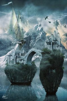 ♂ Dream ✚ Imagination ✚ Surrealism surreal art I Alone Fly by ~Alegion #rock #water #bridge
