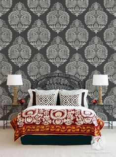 ⋴⍕ Boho Decor Bliss ⍕⋼ bright gypsy color & hippie bohemian mixed pattern home decorating ideas - Annapakshi Indian Damask Wall Stencil from Royal Design Studio