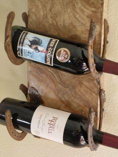 Live edge spalting maple horseshoe wine rack by RopedOnCedar, $52.70