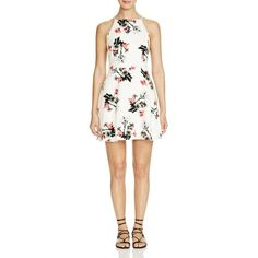 Bb Dakota Olive Floral Fit and Flare Dress - Bloomingdale's Exclusive ($88) ❤ liked on Polyvore featuring dresses, ivory floral, floral print dress, ivory fit and flare dress, olive dress, olive green dress and floral fit and flare dress