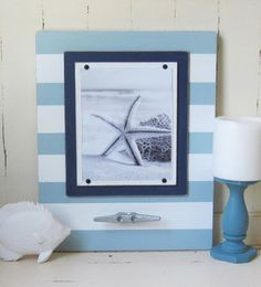 Big Seafoam and White Wood Stripe Frame with Boat Cleat 16x20 for 8x10 Photo
