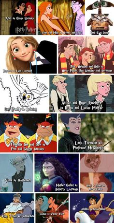 The cast of Disney characters in Harry Potter Roles