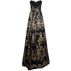 Andrew Gn Beaded Bodice Brocade Gown (£3,650) ❤ liked on Polyvore featuring dresses, gowns, floor length gowns, brown evening dress, couture gowns, floor length evening dresses and floor length evening gowns