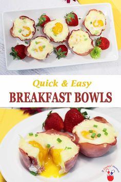 These easy breakfast bowls are a quick & nutritious breakfast of eggs & cheese packed into a handy ham basket that comes together in less than 20 minutes. Easily baked in a muffin tin & perfect for freezing for a great on-the-go healthy breakfast. #breakfast #eggs #muffintineggs #ham #grabngobreakfast #quickandeasy #recipe via @2CookinMamas