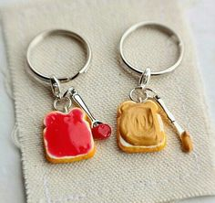 Peanut Butter and Strawberry Jelly Keychain - Friendship Keychain - Food Jewelry, Best Friends Keychains. You're the peanut butter to my jelly My Best Friend, Best Friends, Strawberry Jelly, Polymer Clay Charms, Polymer Clay Miniatures, Pusheen, Clay Creations, Clay Crafts, Cute Jewelry