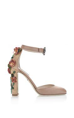 Dolce & Gabbana - Rosa Printed Iguana and Raffia Floral Decal Heels