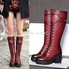 Fashion Winter Boots Women's 100% Cow Leather Knee High Boots Riding Pumps Chunky Platform Punk Goth Creepers