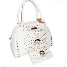 #Betty #Boop Circle Enamel Metal Studs Rhinestonel L Wallet White Satchel Bag Handbag Purse Set - Sale Price: $59.98