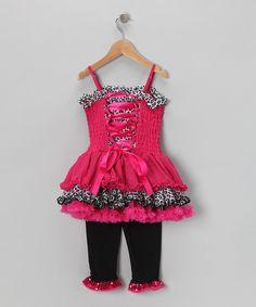 Hot Pink Ruffle Dress & Leggings - Infant, Toddler & Girls