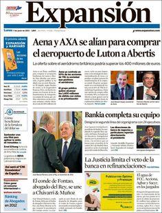 Los Titulares y Portadas de Noticias Destacadas Españolas del 3 de Junio de 2013 del Diario Expansión ¿Que le parecio esta Portada de este Diario Español?