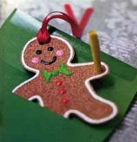 Gingerbread Man Ornament-sandpaper, rubbed with cinnamon and nutmeg for scent-decorate with puffy paints