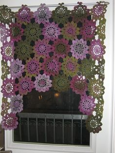 Kitchen Sunflower Curtain knit-and-crochet
